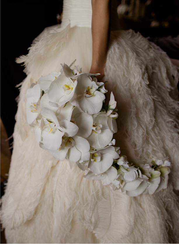 NB Flowers – Phalaenopsis smooth against feathered wedding gown