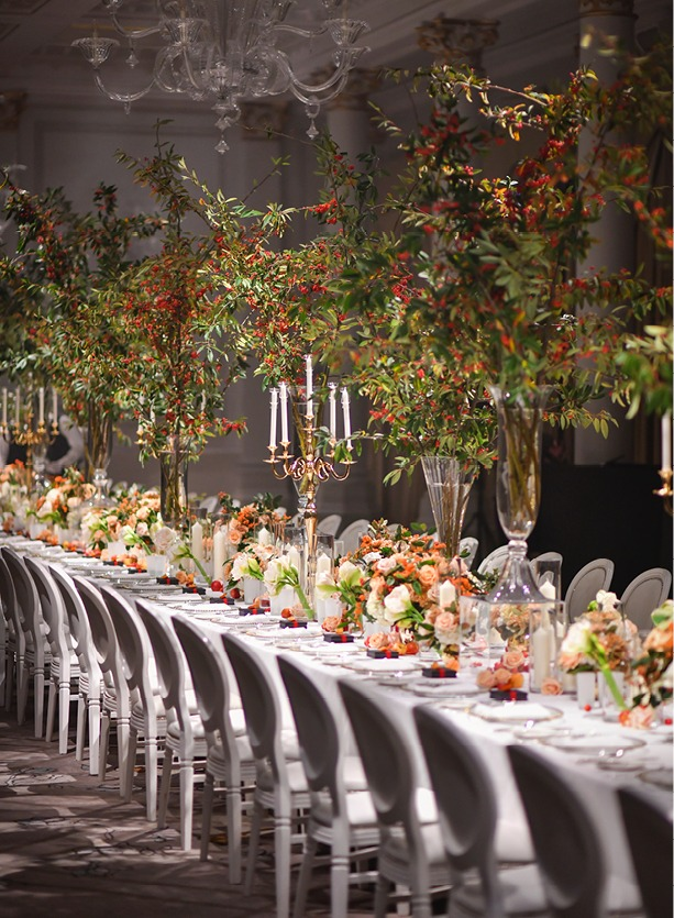 NB Flowers – Magnificent cotoneaster branches in tall vases at The Langham London