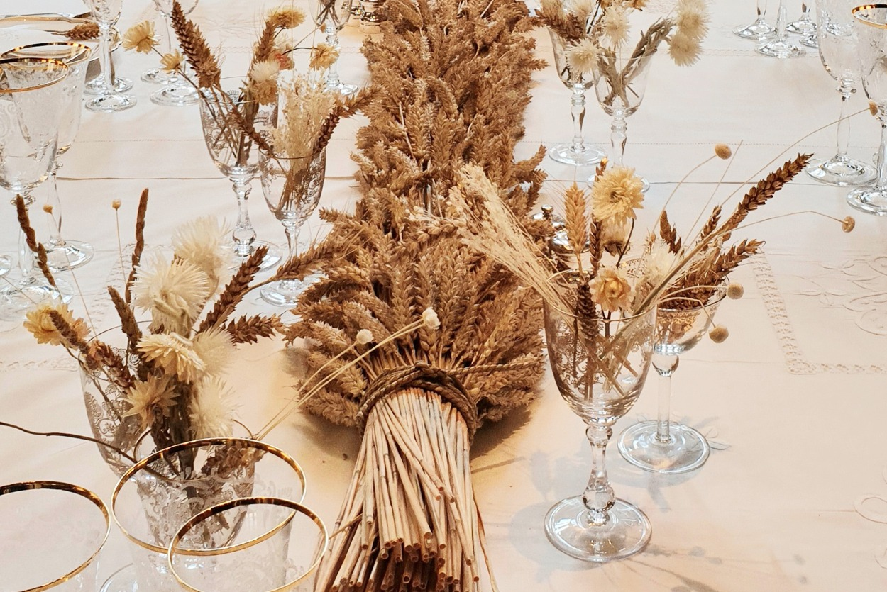 Dried wheat table display for Chanel product launch