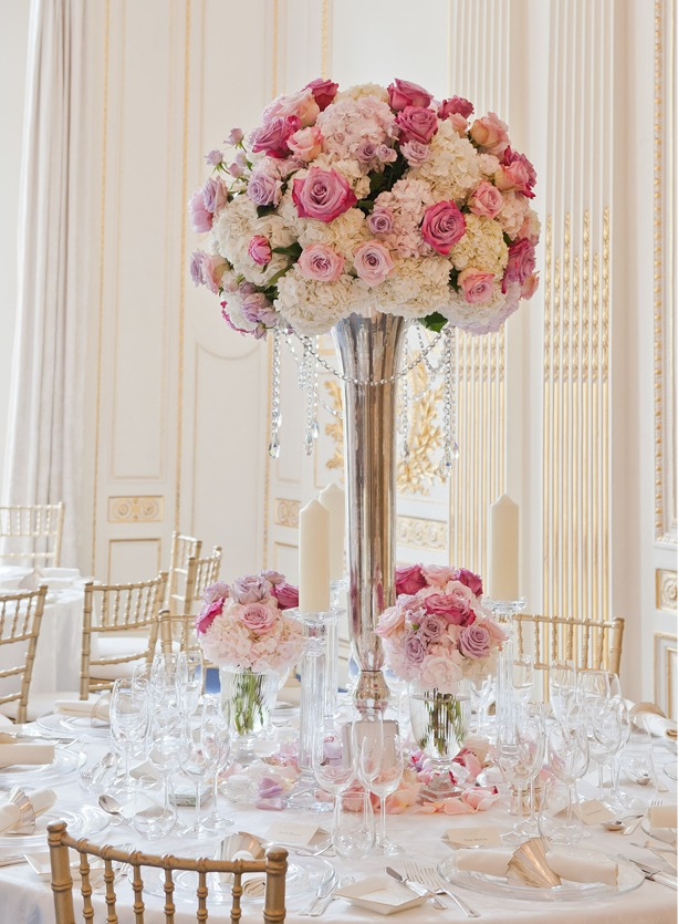 NB Flowers – Tall silver trumpet vases with hydrangea and roses