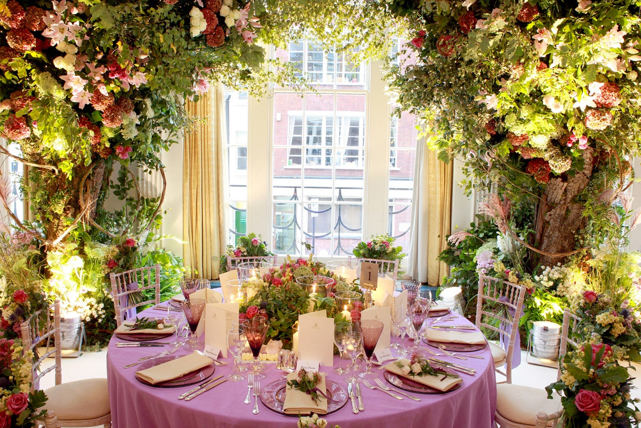 NB Flowers – Claridge's Ballroom, wedding flowers, top table