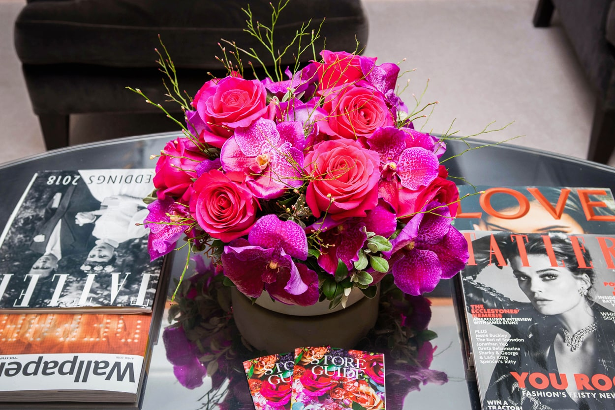NB Flowers – Fuchsia pink roses and orchids on coffee table at Harrods